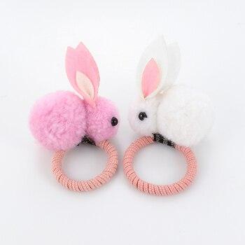 Cute animal hair ball rabbit hair ring female rubber band elastic hair bands Korean headwear children hair Accessories ornaments 2
