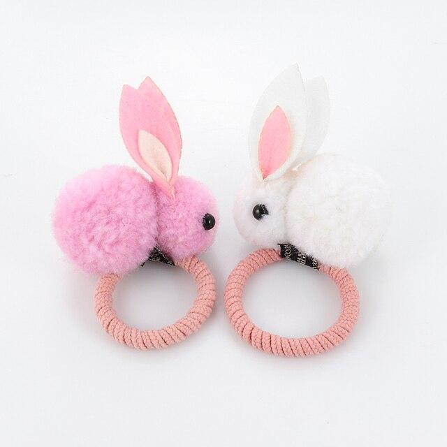 Cute animal hair ball rabbit hair ring rubber elastic bands Korean children hair Accessories 1