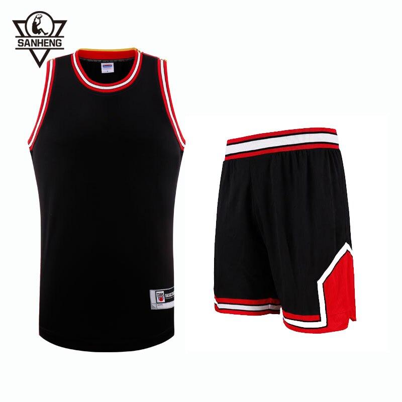2016 S-4XL Brand SANHENG Mens Throwback Basketball Jersey Set 309AB