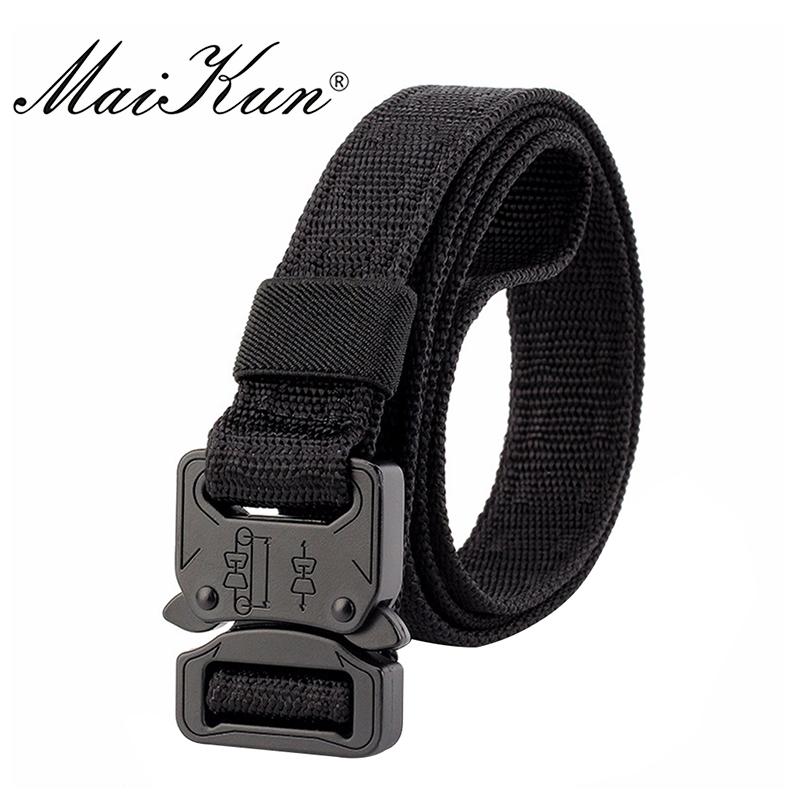 Maikun Nylon Belts for Men Army Tactical Men's Belt Metal Buckle Belt Male Thin Belt 2.5CM