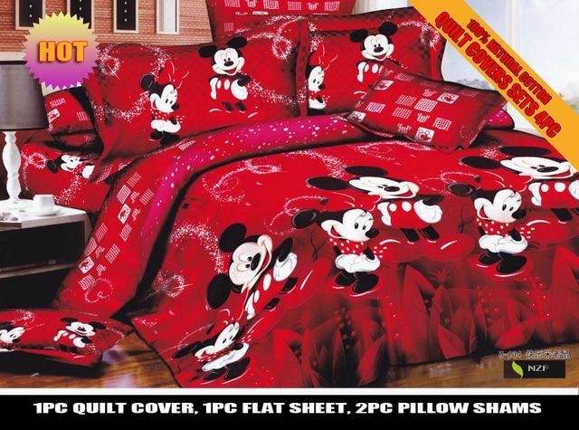 Rouge Couleur Mickey Minnie Mouse Ensemble De Literie Disney Couvre