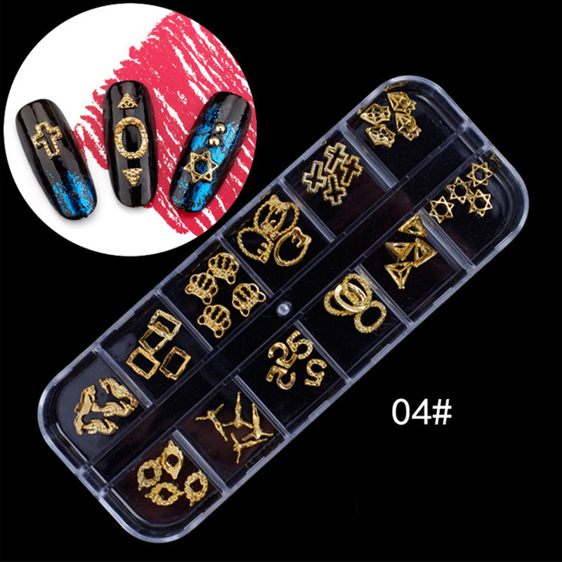 12 Style Irregular Hollow Metal Frames Cross Ring Nail Art Decorations 3d Manicure Stickers Diy Nails Accessory New Tool 4# Gift 24 styles french manicure diy 3d nail art tips guides stickers stencil strip nail hollow stickers nail art