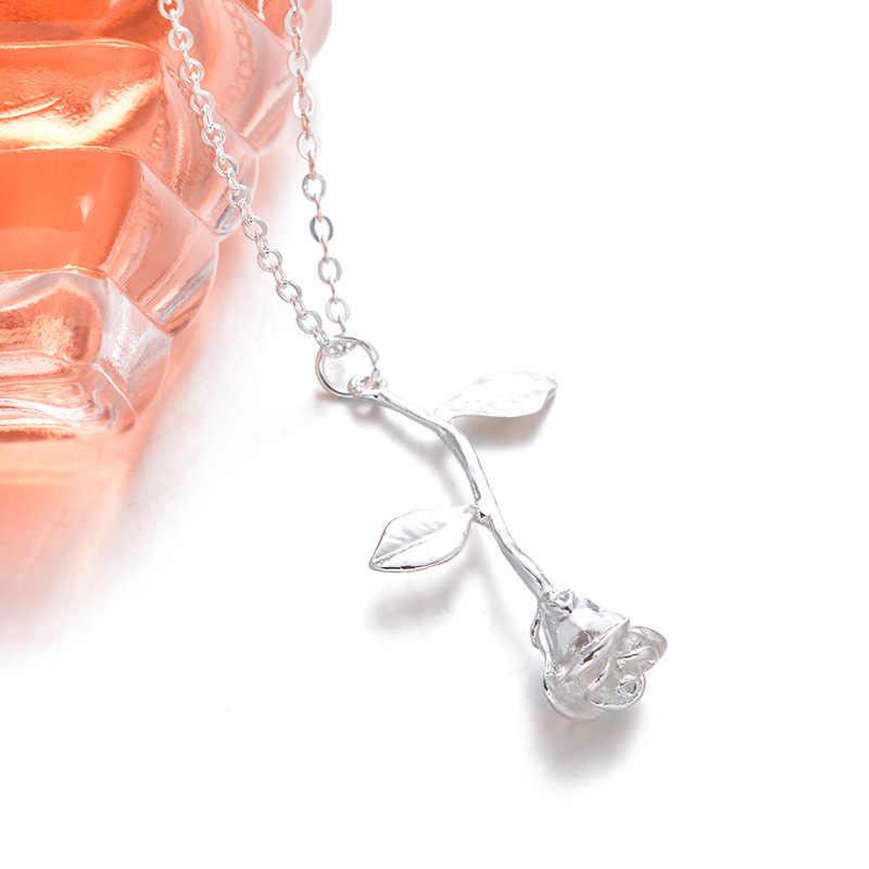 ใหม่ประณีต Rose จี้สร้อยคอสำหรับแฟนของขวัญวันวาเลนไทน์ Charm น่ารักหญิงเครื่องประดับสร้อยคอ