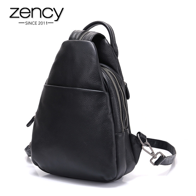 Zency 100% Cowhide Genuine Leather Black Women Backpack Multi-layer Compartments Anti-theft Knapsack Casual Chest Bag Schoolbag