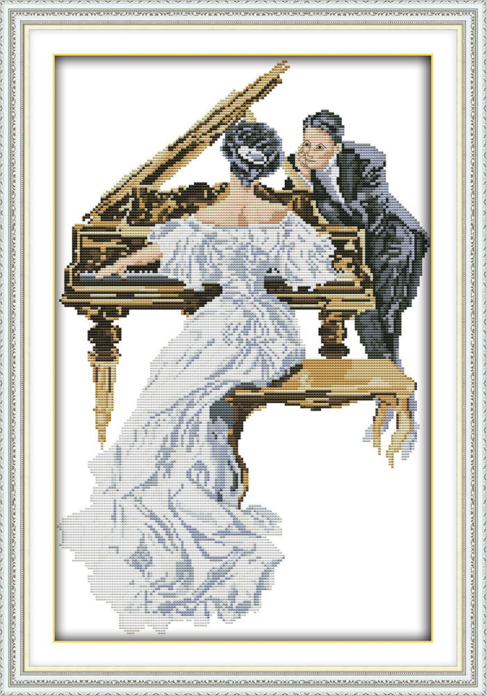 Printed Patterns Counted Cross-stitching,diy Handmade Electronic Components & Supplies Candid Woman Play The Piano Needlework,dmc Cross Stitch,sets For Embroidery Kits