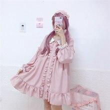 """Нежное женское мини платье весна-осень,милое платье японского стиля""""Лолита"""",кавайное платье с звездочками и оборками,прелестное короткое платье,розового цвета,с длинным рукавом"""