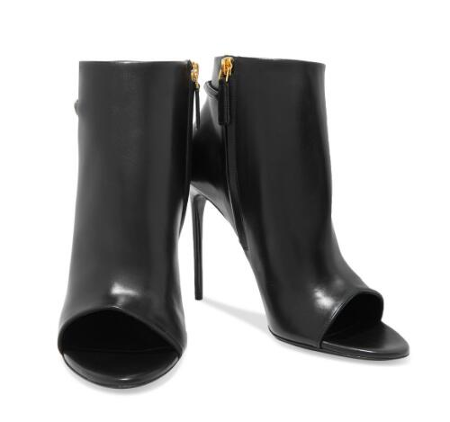 Spring and autumn woman black peep toe high heel ankle boots Ladies open toe super high thin heel short boots Fashion boots spring and autumn women rivets boots fashion black red round toe high heel ankle boots for ladies female sexy thin heel shoes