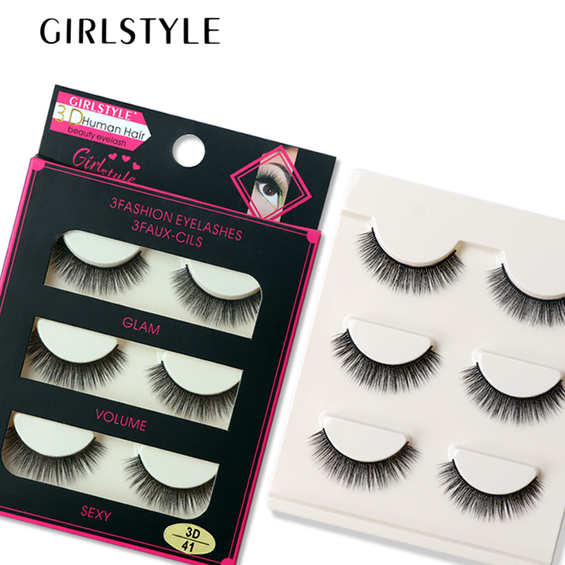 GIRLSTYLE Flash Eyelashes 3pairs Long Extention Eyelashes Makeup Tool Thick Curling Tapered Style Flash Eyelashes Cosmetics