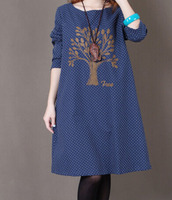 2015 New Mori Girls Style Embroidered Solid Color O Neck Long Sleeved Loose Knee Length Women