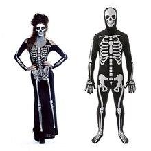 Halloween Dress Horror Costumes For Women Men Bloody Skull Zombie Costume Devil Vampire Scary Skeleton Bodysuit Ghost Cosplay