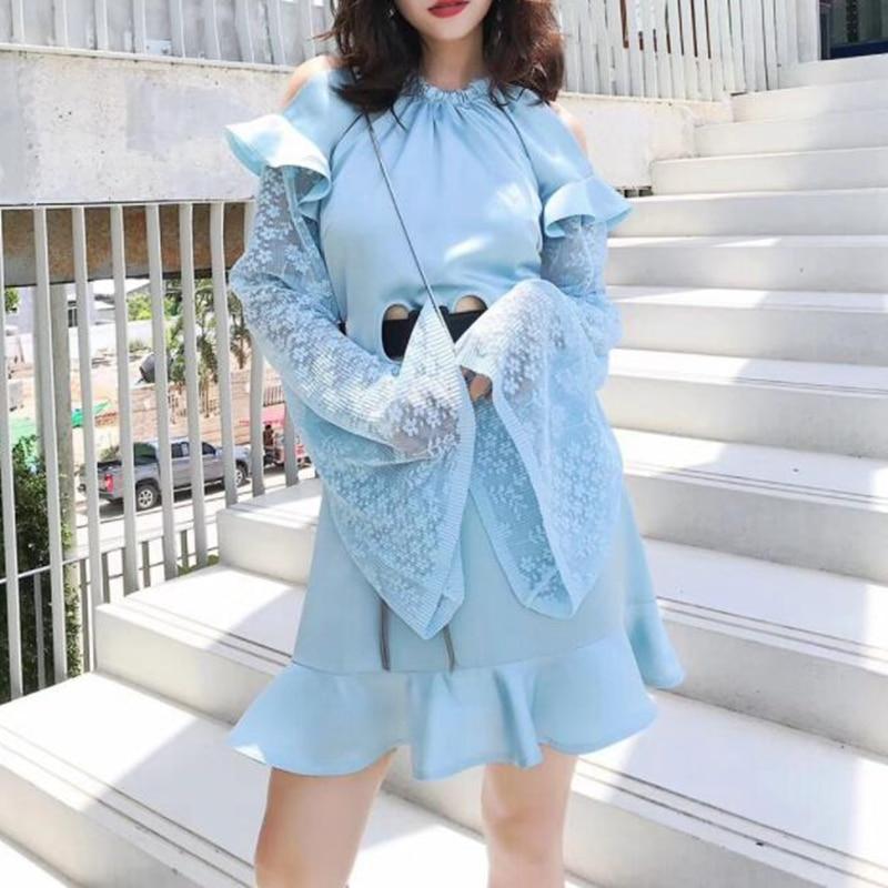 Manches Auto Robes Designer Blue Automne Soirée Portrait De Longues À 2018 Femmes Mode Robe wqXZXpT