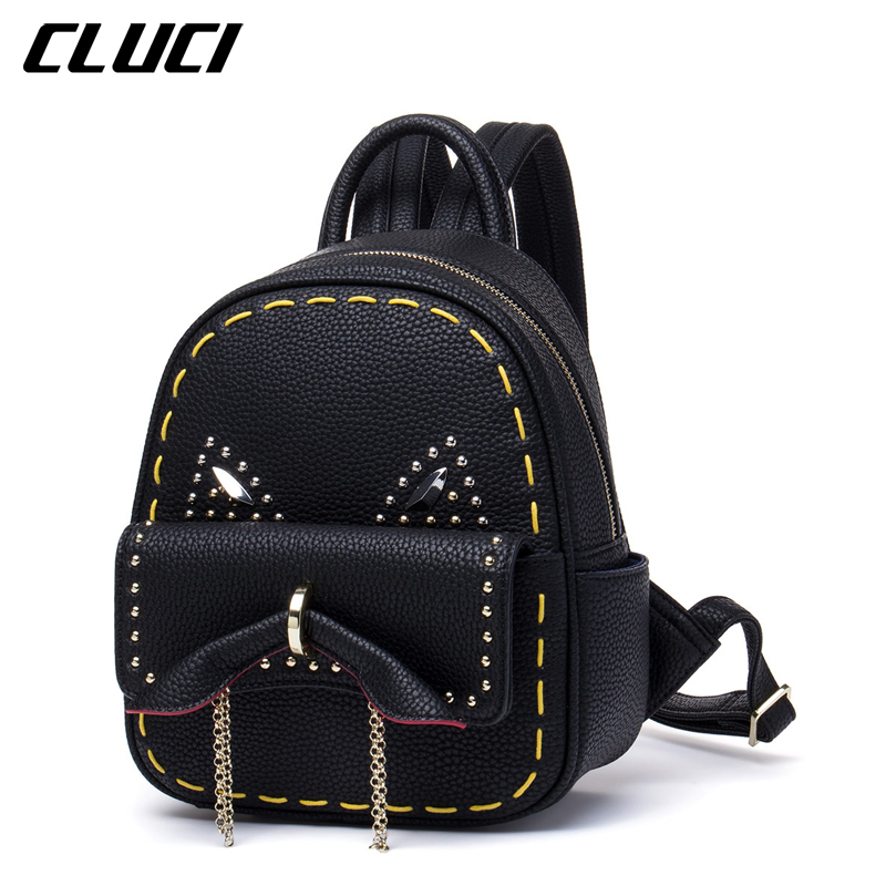 CLUCI Women Mini Backpacks Fashion High Quality PU Daypacks Rivet School Bags Famous Brand Backpack Female For Adolescent Girls adolescent