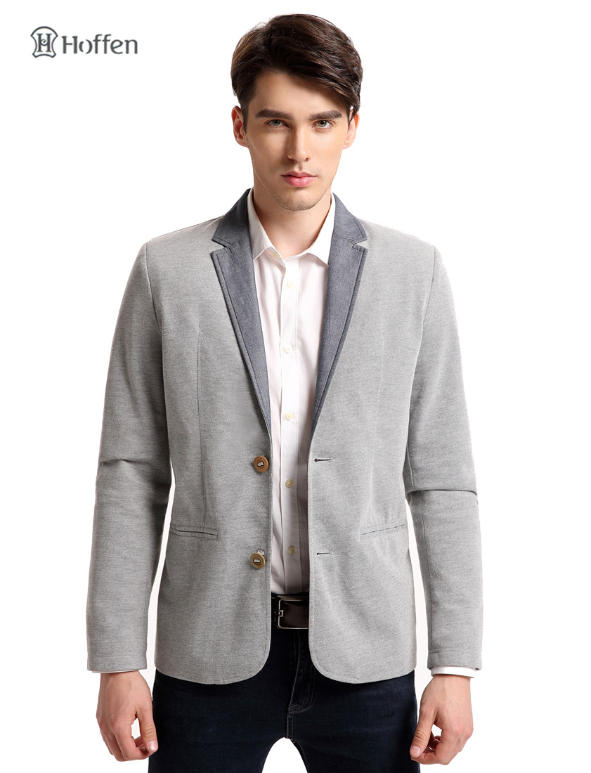 255f400e2aecf Hoffen brand-clothing two button men casual blazers turn down collar slim  fit blazer jacket