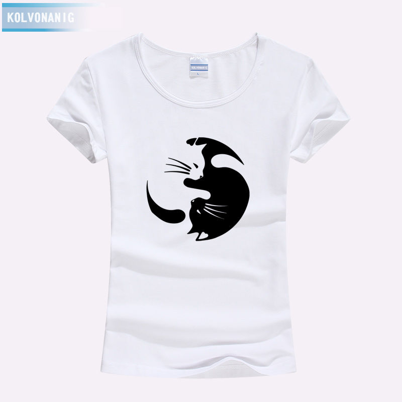 T Shirts Women 2019 Summer Streetwear Funny Taichi Cats Design Animal Print T Shirts O Neck Short Sleeve Ladies Slim Tops Tees in T Shirts from Women 39 s Clothing