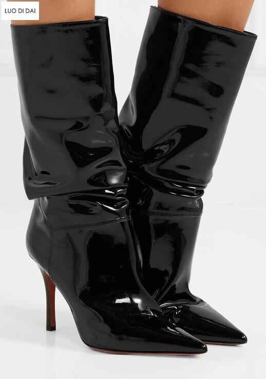 920ccad05b7 US $87.96 40% OFF 2019 new women mid calf boots thin heel booties black  leather women half boots ladies patent leather boots slip on-in Mid-Calf  Boots ...
