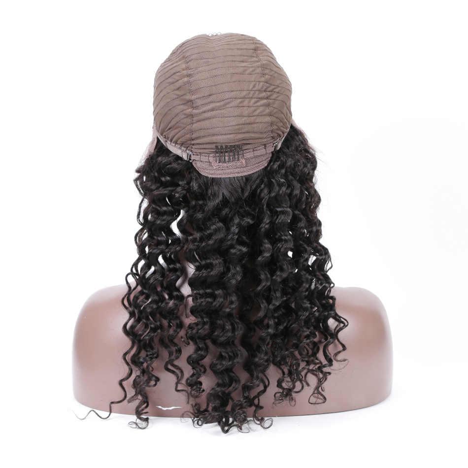 Perucas de cabelo humano da parte dianteira do laço para a linha fina natural malaio encaracolado completo do laço 360 peruca frontal com cabelo do bebê