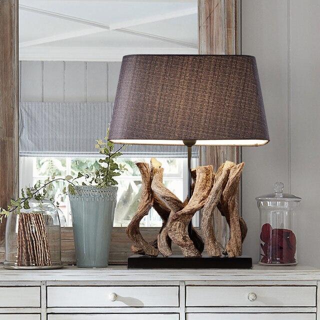 Luxury Retro Wooden Table Lamp Luxury Bedroom Bedside Lamp Sculpture ...