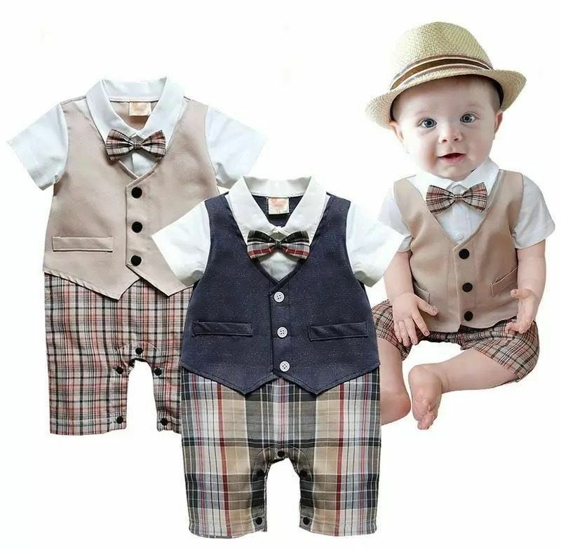 2019 Newborn Infant Toddler Kids Baby Boy Girl Romper Short Sleeve Jumpsuit Baby Casual Bow Plaid Clothes One-piece Outfit