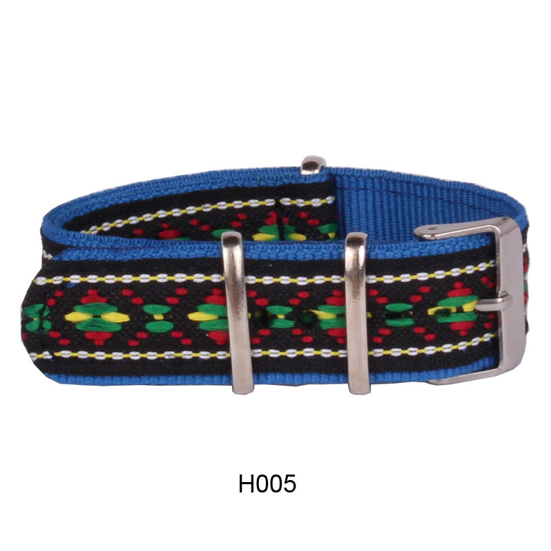 Cambo Stripe 20 Mm Strong Multi-color Vintage Folk Nato Fabric Nylon Watch Watchband Woven Strap Bands Buckle Belt 20mm N20H005