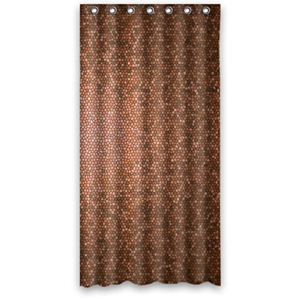 mosaic orange brown custom shower curtain pattern waterproof shower curtain for bathroom 6672inch