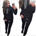 Бесплатная доставка новый 2016 осенне-зимней моды Хлопка С Капюшоном женская спортивная одежда