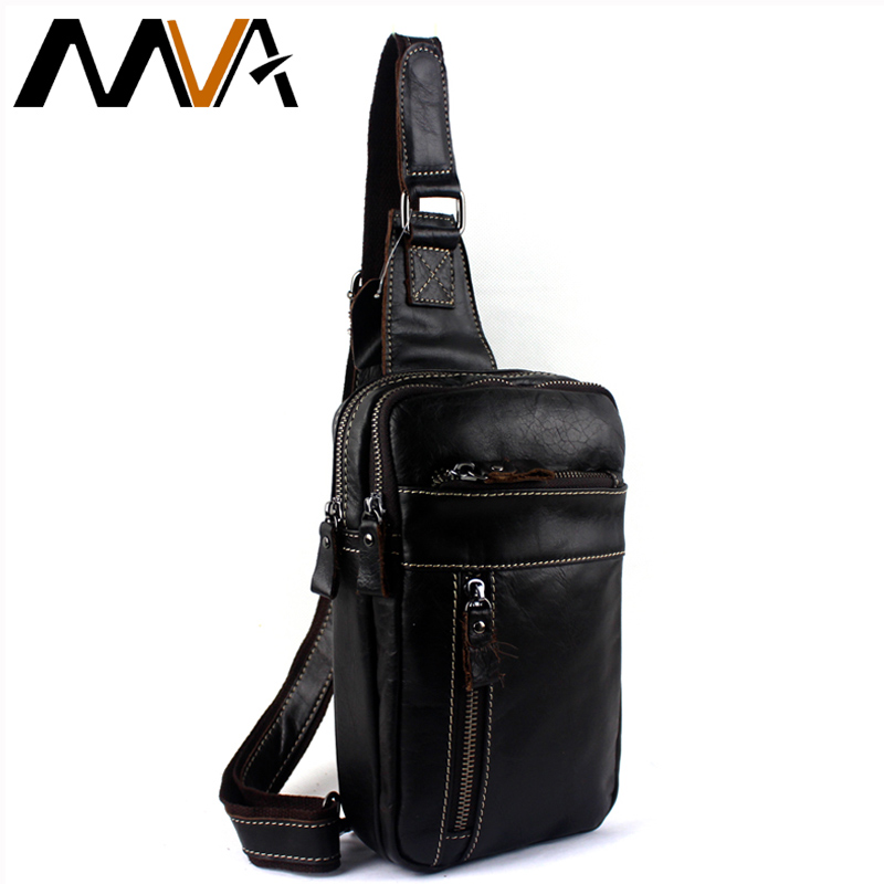 MVA Genuine Leather Men Bag male chest bag travel shoulder Man Crossbody Bags Messenger Bags Men Phone Sling Chest Pack 8014 2016 shoulder bags for men new vintage genuine leather crocodile grain travel crossbody messenger sling pack chest bag bolsas