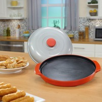 PREUP Microwave Grill Pan Roasting Pan Microwave Crisper Plate with Lid for Kitchen Microwave Cooking Grilling Oven Use