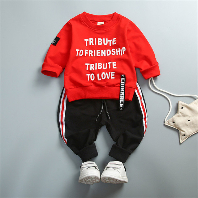 """2-Pieces Letter Print """"Tribute to Friendship"""" Top and Striped Pants Set for Boy"""