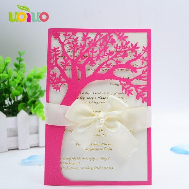 Hot Pink Nice 50pcs Envelop Laser Cut 3d Sweet Bride Groom Wedding Invitation Card Engagement