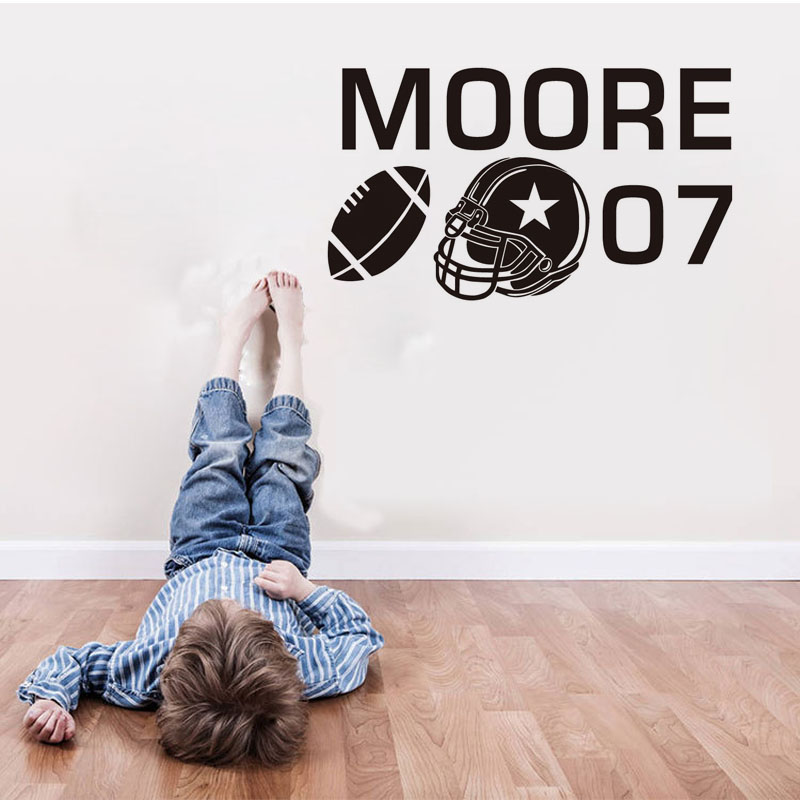 Football Customize Name Number Wall Decals Home Decoration Removable Vinyl Art Stickers Decor Adhesive