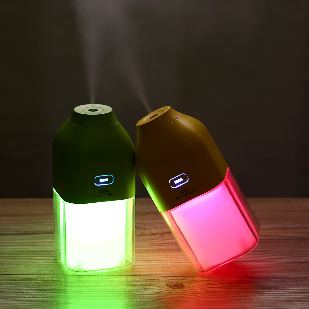 1200MA Rechargeable Built-In Lithium Battery USB Air Humidifier With Colorful LED Mood Lamp Ultrasonic Water Fogger Atomizer