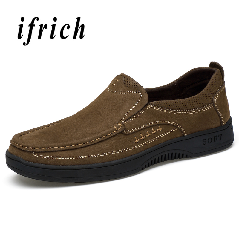 Genuine Leather Mens Fashion Casual Sneakers Handmade Casual Men Shoes Flats Luxury Brand Slip On PU Leather Shoe Men Lazy Shoes