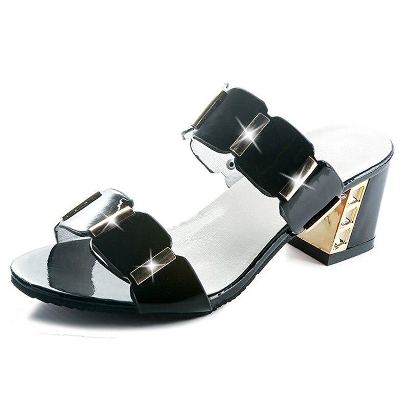 HTB1PE5AayHrK1Rjy0Flq6AsaFXaR Sandals Women High Heels Female Square Heels Sandalia Feminina Ladies Pump Shoes Party Wedding Peep Toe Shoes Black sandalias