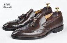 Qianruiti Винтаж Стиль Для мужчин с бахромой обувь дышащие отверстия оксфорды Бизнес свадебные плоские ручной работы без застежки Мужские модельные туфли