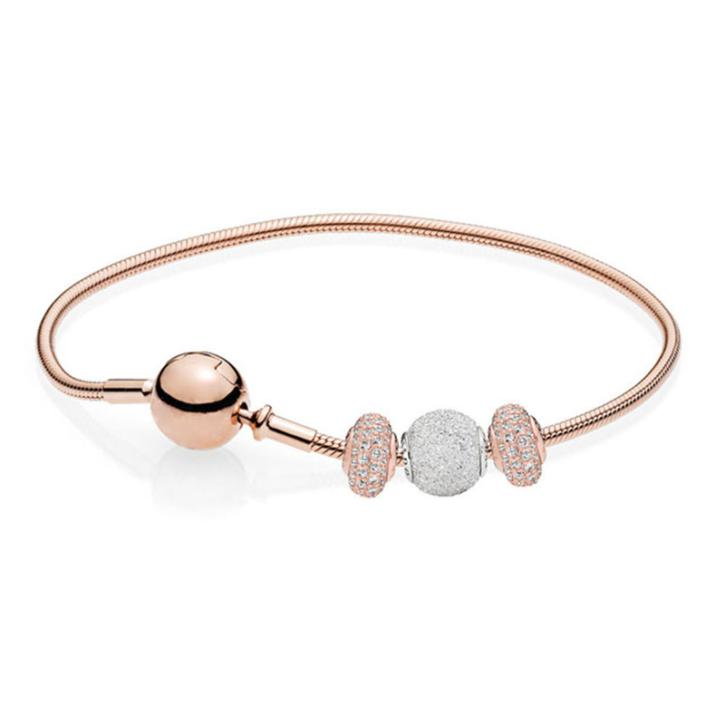 100% 925 Sterling Silver Jewelry New Wisdom And Confidence Bracelet Gift Set Rose Gold Series Fashion Jewelry100% 925 Sterling Silver Jewelry New Wisdom And Confidence Bracelet Gift Set Rose Gold Series Fashion Jewelry