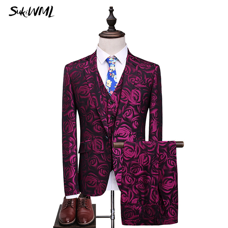 SUKIWML Rose Suit Sets Wedding Grooms 2018 Tuxedo Costume Homme Slim Fit 3 Pieces Ternos Masculino High Qaulity Red Suit Dress