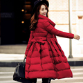 A Qualidade superior 2016 Nova Primavera Inverno 90% Pato Branco Extra longos Para Baixo mulheres Jaqueta Ultra Leve Para Baixo Casaco Feminino Outerwear S-XL