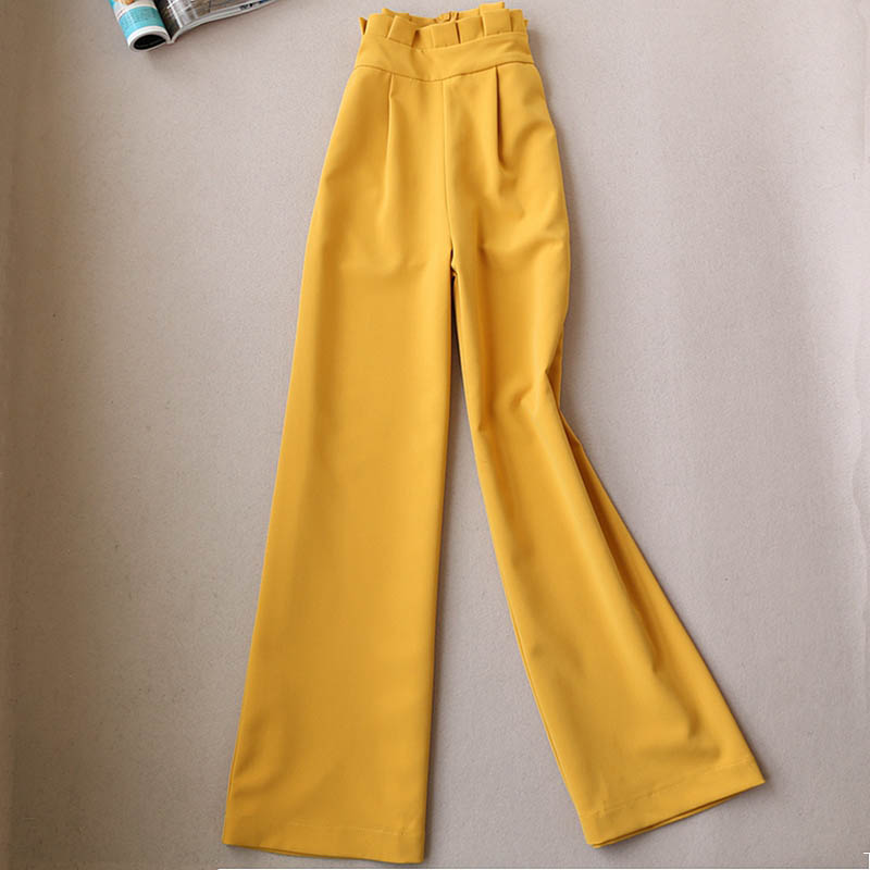 Spring and summer   pants   new high waist was thin   wide     leg     pants   loose straight casual   pants   Yellow & white   Wide     leg   trousers