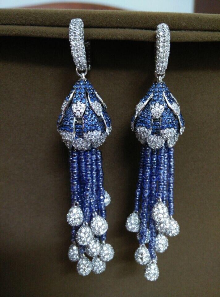 Qi xuan joaille personnalisé luxe pierres bleues Boutique boucles d'oreilles gland s925 boucles d'oreilles en argent massif usine directement Saless - 2