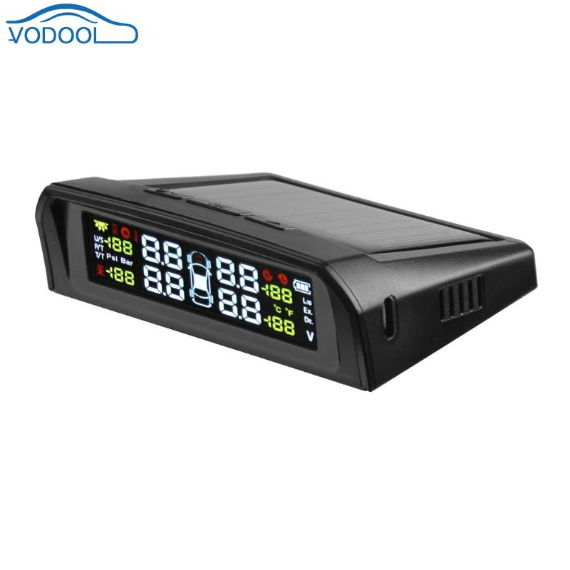 VODOOL LCD Car TPMS Tyre Pressure Monitoring System Solar Charger With 4 External Internal Sensor Auto Security Alarm Systems-in Tire Pressure Alarm from Automobiles & Motorcycles    2