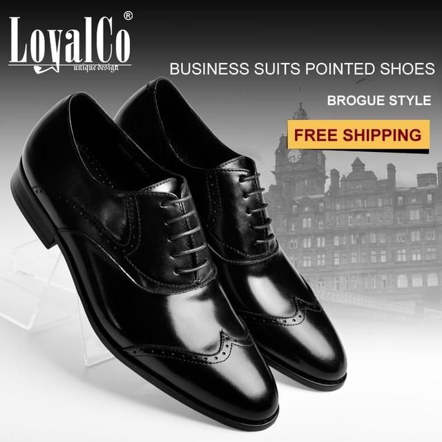 2017 Men S Brogues Formal Business Male Flats Black Wedding Shoes Lace Up Dress