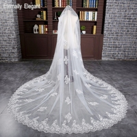 Gorgeous 3 Meters White Ivory Sequined Lace Mantilla Cathedral Wedding Veil Bridal Veil Long Comb Wedding