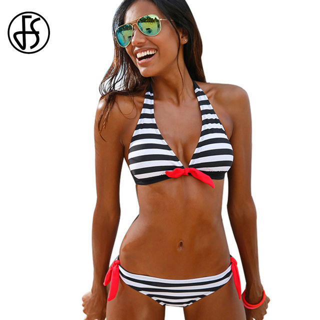 2c80e6d50e3f € 11.66  FS Sexy Halter Top Bikini 2018 mujeres traje de baño Rojo Negro  Azul rayas Sexy brasileño traje de baño de corte alto Backless traje de ...