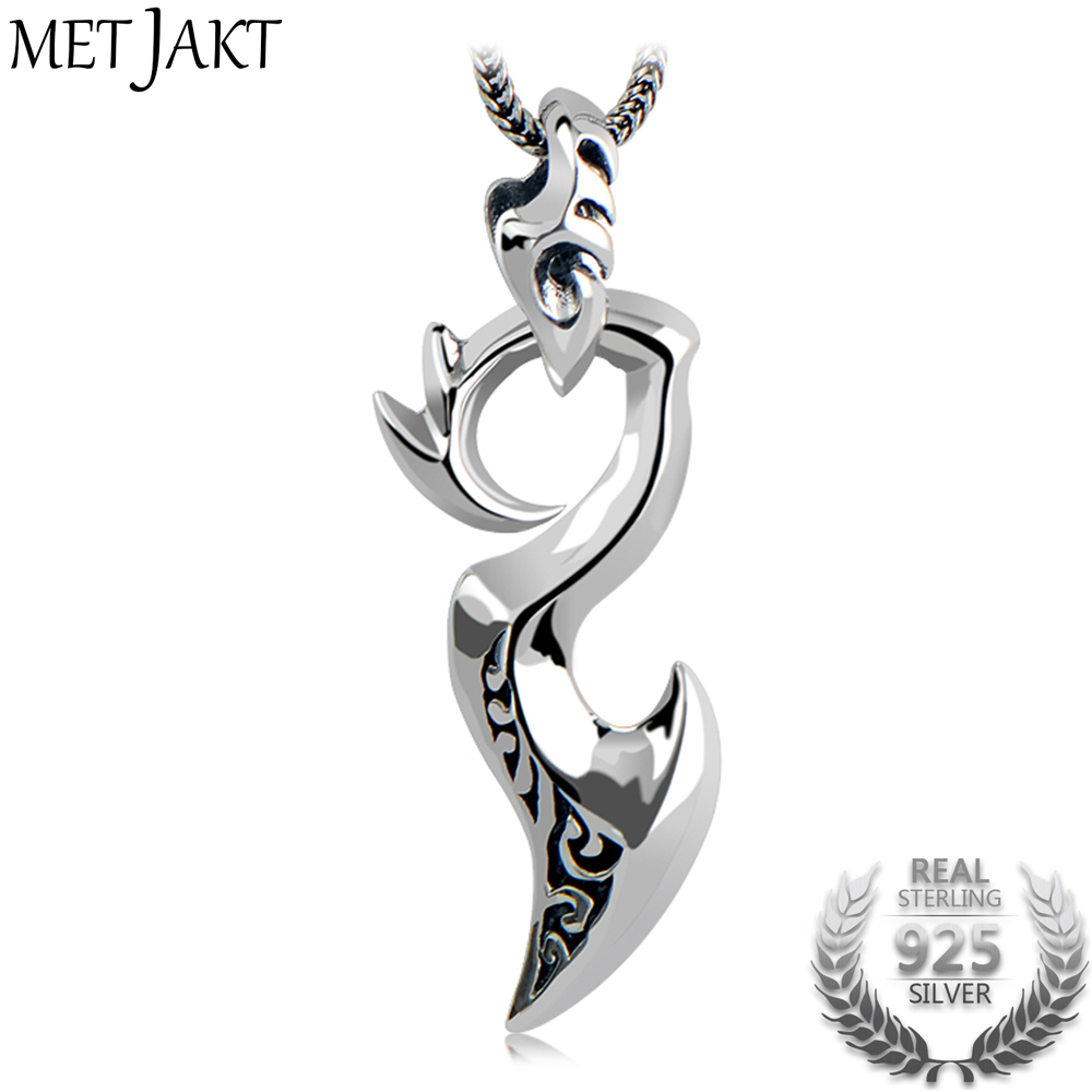 MetJakt Solid 925 Sterling Silver Dragon Wing Pendant with Snake Chain Necklace Suit Men and Boy's Punk Rock Jewelry metjakt punk buddhism 925 sterling silver peace pendant necklace and snake chain unisex exorcise evil spirits jewelry