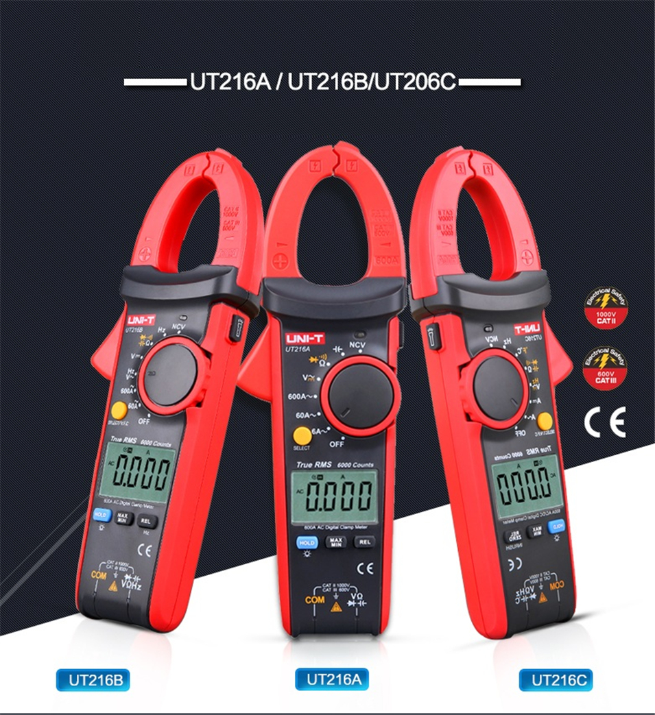 UNI-T UT216A UT216B UT216C UT216D 600A True RMS Digital Clamp Meters AC/DC Current V/A Capacitance Ohm Freq Temp VFC NCV uni t ut202a 400 600a ditgital current clamp meters diagnostic tool capacitance tester ncv test dc ac multimeter