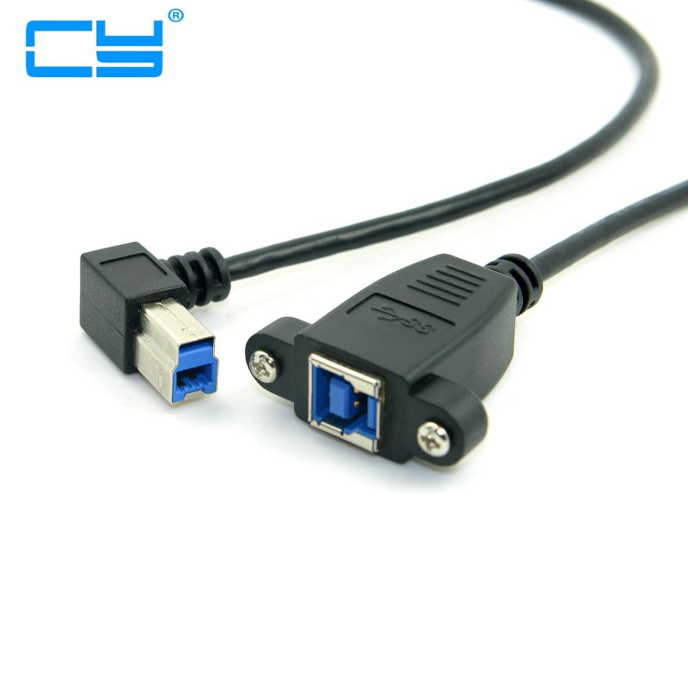 Black <font><b>USB</b></font> <font><b>3.0</b></font> USB3.0 Back <font><b>Panel</b></font> <font><b>Mount</b></font> B Type Female To Right Angled 90 Degree B Type Male Extension Cable adapter connector image