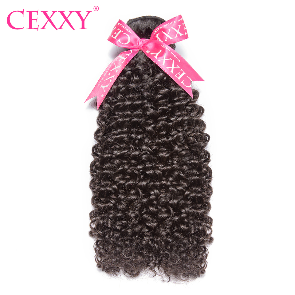 CEXXY 8A Virgin Hair Peruvian Hair Weave Bundles Kinky Curly 1pcs Human Hair Extension Natural Color