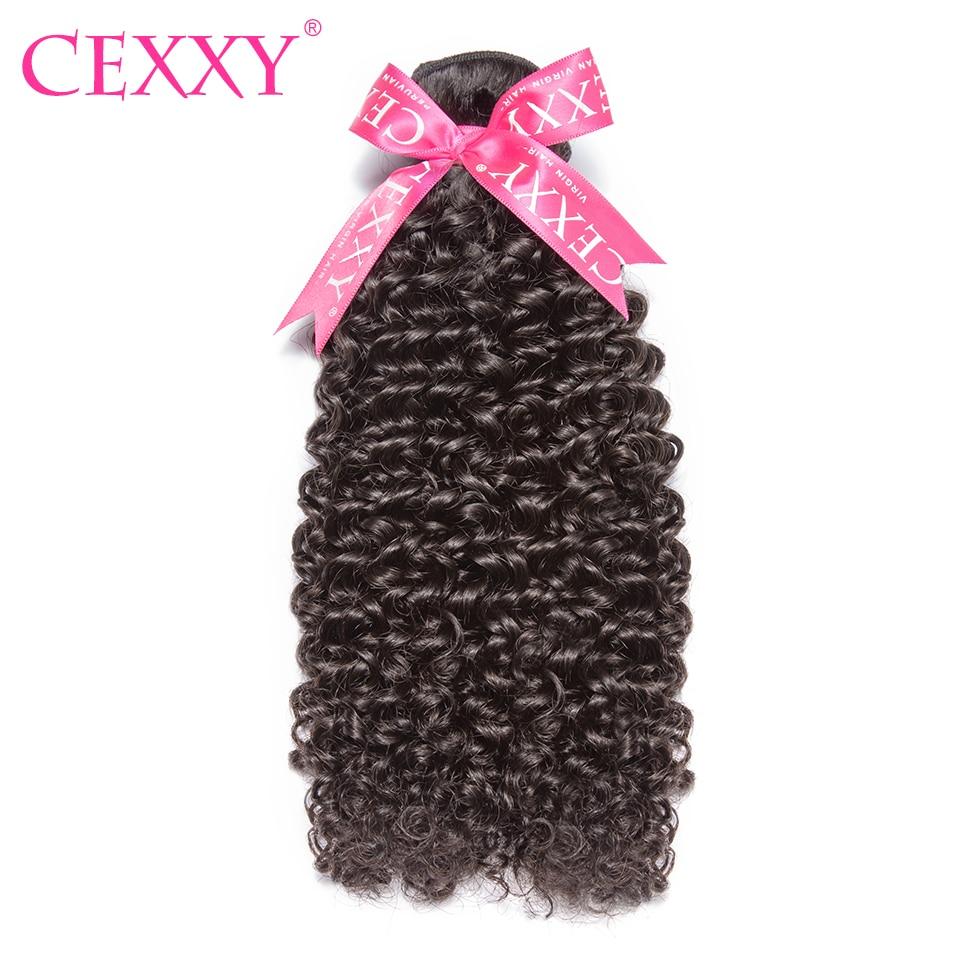 CEXXY 8A Virgin Hair Peruvian Hair Weave Bundles Kinky Curly 1pcs Human Hair Extension Natural Color