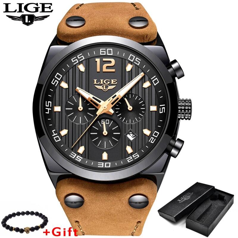 LIGE Hommes Montres Top Marque De Luxe Militaire Sport Montre Hommes En Cuir Imperméable Quartz Montre-Bracelet Homme horloge Relogio Masculino