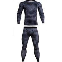 Compression Clothing Sets Top Legging Men Fitness Suits Long Sleeve T Shirts Crossfit Leggings MMA Rash